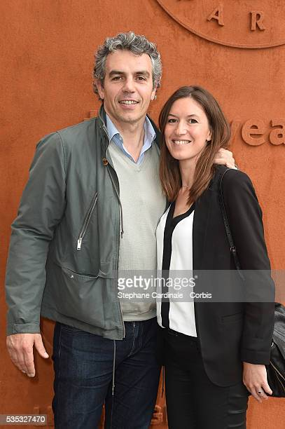 Journalist Francois Trillo and wife Diane Trillo attend day eight of the 2016 French Open at Roland Garros on May 29 2016 in Paris France