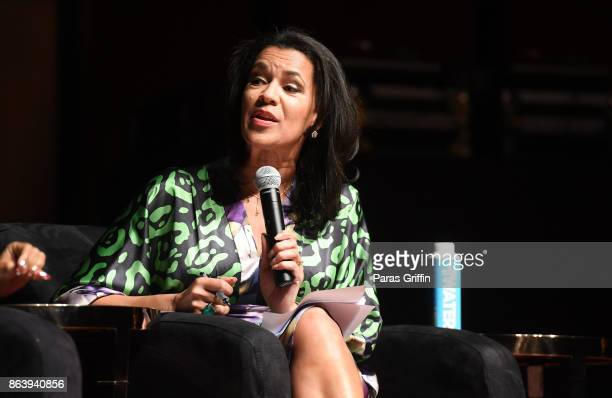 Journalist Fredricka Whitfield speaks onstage at Careers In Entertainment Tour Atlanta at Morehouse College on October 20 2017 in Atlanta Georgia