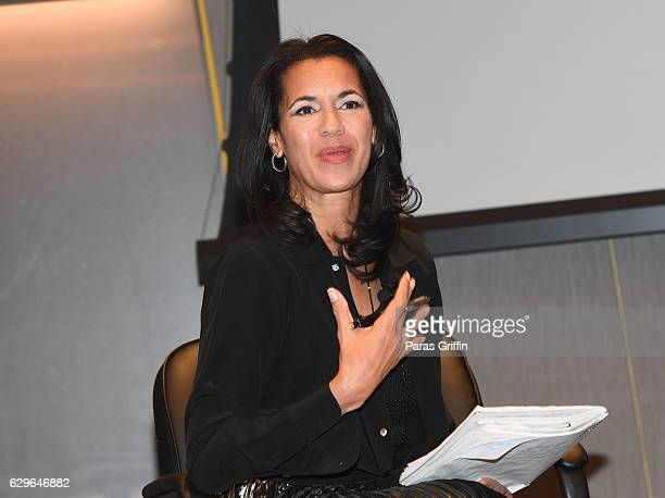Journalist Fredricka Whitfield speaks onstage at Loving Private Screening Conversation at National Center for Civil and Human Rights on December 13...