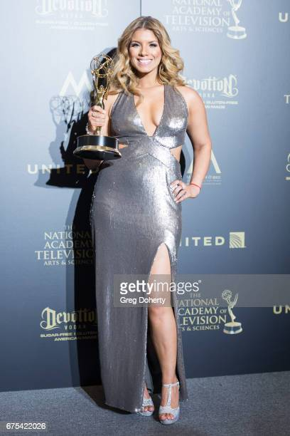 Journalist Gaby Natale displays her Emmy Award at the 44th Annual Daytime Emmy Awards at Pasadena Civic Auditorium on April 30 2017 in Pasadena...