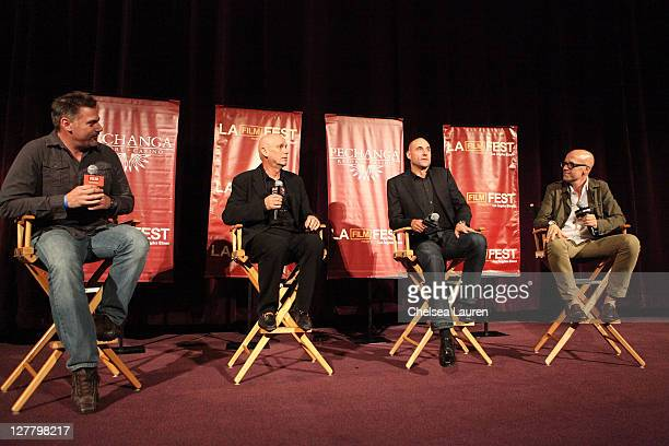 Journalist Geoff Boucher actor Mark Strong director Martin Campbell and producer Donald De Line speak onstage the 2011 Los Angeles Film Festival...