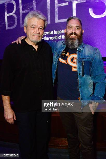 Journalist George Knapp and filmmaker Jeremy Corbell attend Los Angeles Special Screening Of Documentary 'Bob Lazar Area 51 Flying Saucers' at Ace...