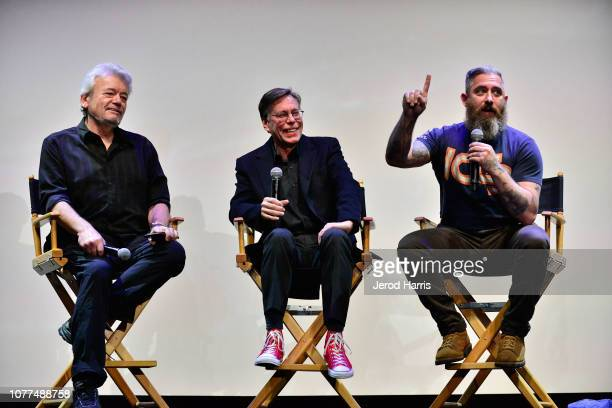 Journalist George Knapp Bob Lazar and filmmaker Jeremy Corbell attend Los Angeles Special Screening Of Documentary 'Bob Lazar Area 51 Flying Saucers'...