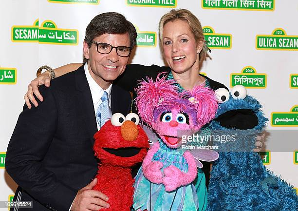 Journalist George Stephanopoulos and comedian Ali Wentworth with Elmo Abby and Cookie Monster at the11th Annual Sesame Street Workshop Benefit Gala...