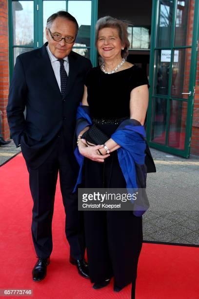 Journalist Gero von Boehm and wife Christiane poses during the Steiger Award at Coal Mine Hansemann Alte Kaue on March 25 2017 in Dortmund Germany