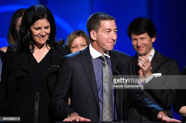 Journalist Glenn Greenwald accepts Best Documentary for 'Citizenfour' onstage during the 2015 Film Independent Spirit Awards at Santa Monica Beach on...