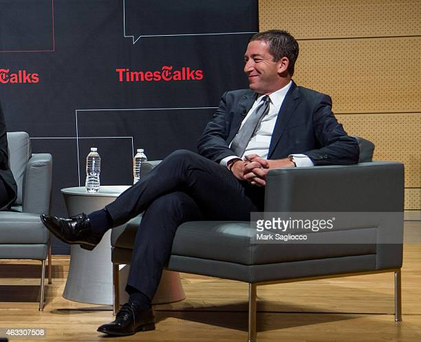 Journalist Glenn Greenwald attends the TimesTalks at The New School on February 12 2015 in New York City