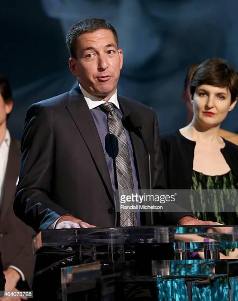 Journalist Glenn Greenwald speaks onstage during the 2015 Film Independent Spirit Awards at Santa Monica Beach on February 21 2015 in Santa Monica...