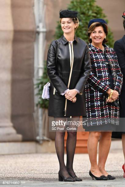 Journalist Guilaine Chenu attends the Monaco National day celebrations in Monaco Palace courtyard on November 19 2017 in Monaco Monaco