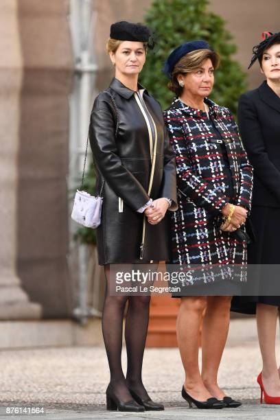 Journalist Guilaine Chenu attends the Monaco National Day Celebrations in the Monaco Palace Courtyard on November 19 2017 in Monaco Monaco