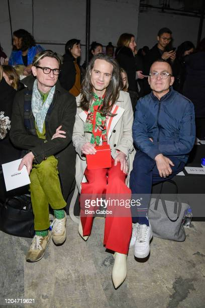 Journalist Hamish Bowles Jordan Roth and president and CEO of CFDA Steven Kolb attend the Monse Fashion Show during New York Fashion Week The Shows...