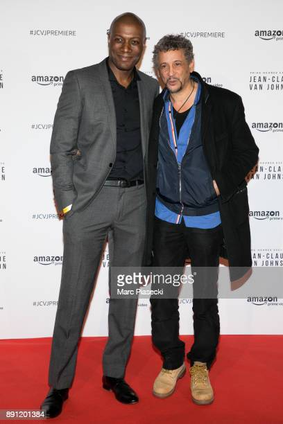 Journalist Harry Roselmack and actor Abel Jafri attend the Amazon TV series 'Jean Claude Van Johnson' Premiere at Le Grand Rex on December 12 2017 in...