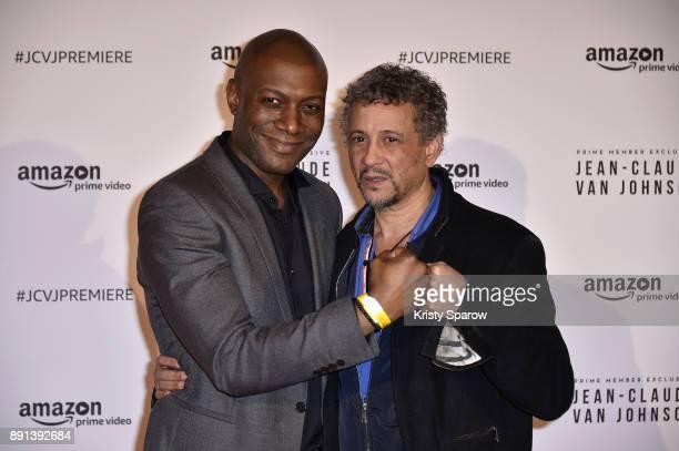 Journalist Harry Roselmack and actor Abel Jafri attends the Amazon TV series 'Jean Claude Van Johnson' Premiere at Le Grand Rex on December 12 2017...