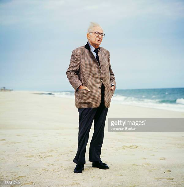 Journalist Henry Grunwald is photographed for Vanity Fair Magazine on September 27, 1996 at home in Southampton, New York. PUBLISHED IN JONATHAN...