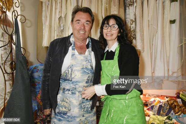 Journalist Herve Pouchol and designer Zelia Van den Bulke attend Zelia Van Den Bulke Aprons Show At Zelia Abbesses Shop on May 1, 2018 in Paris,...
