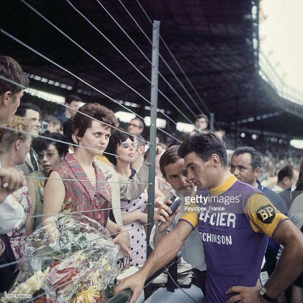 Journalist Interviewing Raymond Poulidor In Tour De France On July 1965