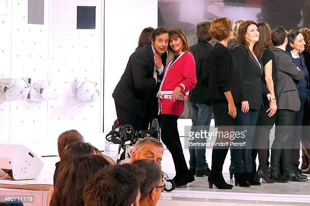 Journalist Isabelle Chalencon and Team of TV Show 'Telematin', wich celebrates its 30th Birthday, attend the 'Vivement Dimanche' French TV Show...