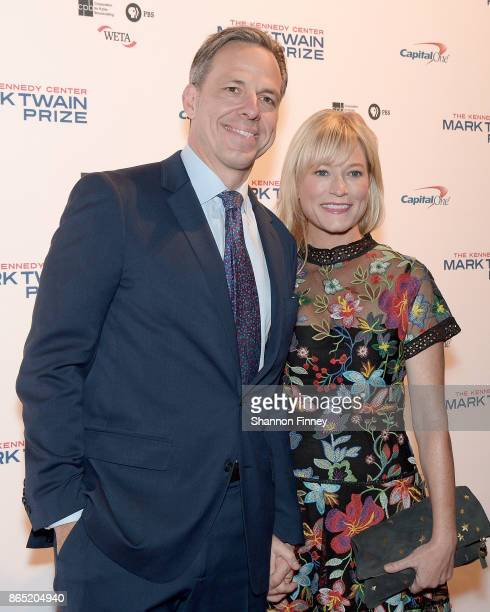 Journalist Jake Tapper and Jennifer Brown attend the 2017 Mark Twain Prize for American Humor at The Kennedy Center on October 22 2017 in Washington...