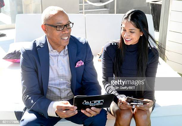ESPN journalist Jay Harris and professional golfer/fashionista Seema Sadekar attend Soul Lunch Greens A Charity Golf Experience at Top Golf at MGM...