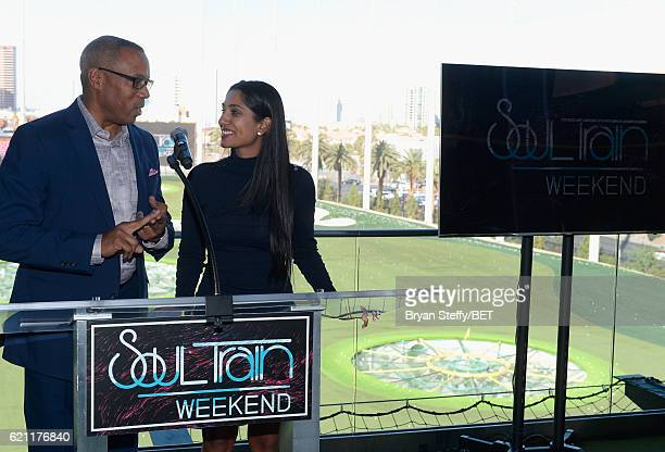 ESPN journalist Jay Harris and professional golfer/fashionista Seema Sadekar speak during Soul Lunch Greens A Charity Golf Experience at Top Golf at...