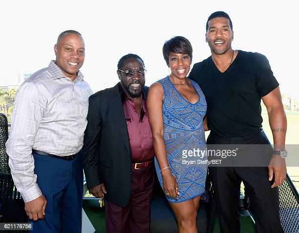ESPN journalist Jay Harris singer Eddie Levert actress Dawnn Lewis and former NBA player Jimmy Jackson attend Soul Lunch Greens A Charity Golf...