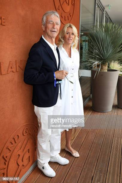 Journalist JeanClaude Narcy and Alice Bertheaume attend the 2018 French Open Day Twelve at Roland Garros on June 7 2018 in Paris France
