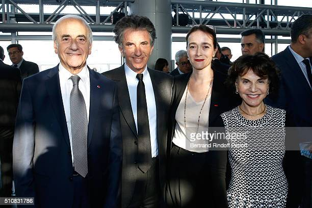 Journalist JeanPierre Elkabbach President of the 'Institut du Monde Arabe' Jack Lang President of France Television Delphine Ernotte and Monique Lang...