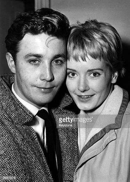 Journalist Jeffrey Bernard and his wife, Canadian born actress Jacqueline Ellis, just after their wedding at Hampstead Register Office.