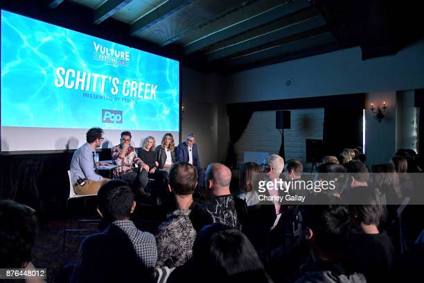 Journalist Jesse David Fox and actors Dan Levy Catherine O'Hara Annie Murphy and Eugene Levy speak onstage during the 'Schitt's Creek' panel part of...