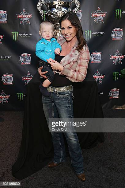 Journalist Jill Nicolini and son Austin attend the 2016 Professional Bull Riders Denim Diamonds Party at Madison Square Garden on January 15 2016 in...