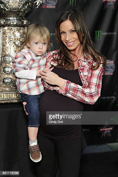 Journalist Jill Nicolini and son Austin attends the 2017 Professional Bull Riders Monster Energy Buck Off at the Garden at Madison Square Garden on...