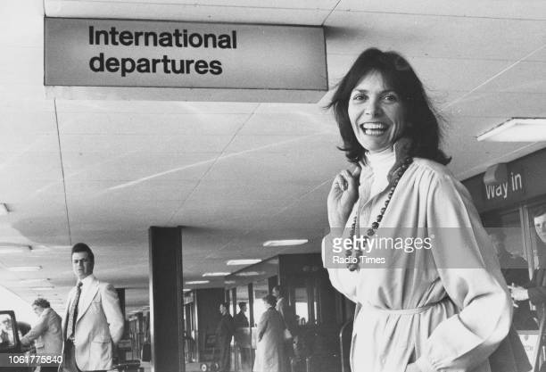 Journalist Joan Bakewell pictured in the departures lounge of an airport May 4th 1979