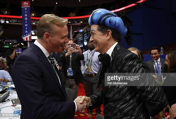 Journalist John Dickerson meets comedian Stephen Colbert on the floor of the Republican National Convention for CBS's The Late Show with Stephen...