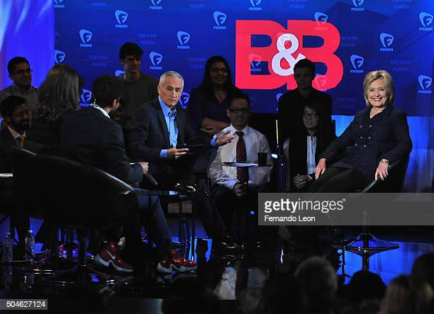 Journalist Jorge Ramos and democratic presidential candidate Hillary Rodham Clinton pictured onstage during the FUSION presents the Brown Black...