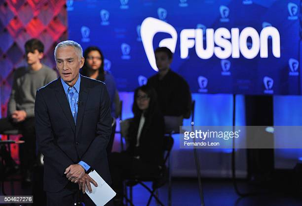 Journalist Jorge Ramos pictured onstage during the FUSION presents the Brown Black Democratic Forum at Drake University on January 11 2016 in Des...