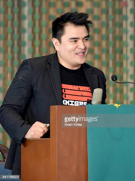Journalist Jose Antonio Vargas speaks onstage during I Am An Immigrant A Celebration Of Our Stories a live performance celebrating immigrants and the...