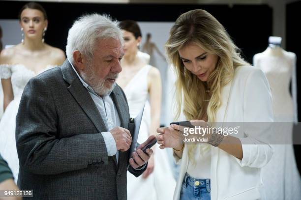 Journalist Josep Sandoval and Agueda Lopez attend the Rosa Clara opening showroom on April 20 2018 in Sant Just Desvern Spain