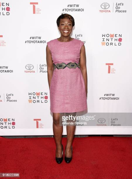 Journalist JoyAnn Reid arrives at the 2018 Women In The World Los Angeles Salon at NeueHouse Hollywood on February 13 2018 in Los Angeles California