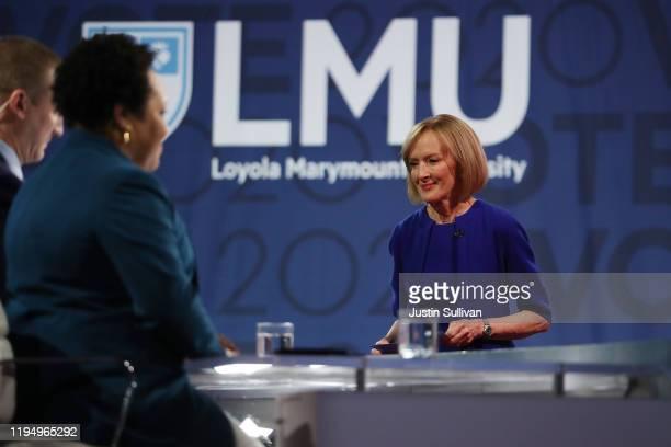 Journalist Judy Woodruff moderates the Democratic presidential primary debate at Loyola Marymount University on December 19 2019 in Los Angeles...