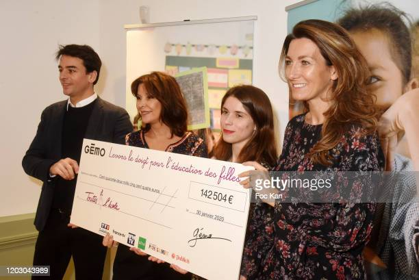 TV Journalist Julian Bugier Toutes a l'Ecole frounder Tina Kieffer guest from Gemo and AnneClaire Coudray attend the Levons Le Doigt Pour L'Education...
