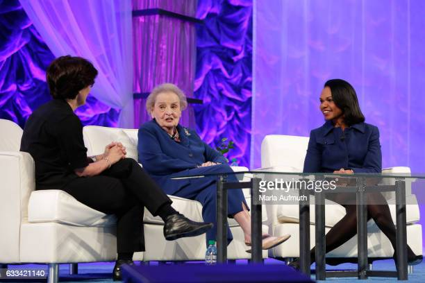 Journalist Kara Swisher and former United States Secretaries of State Madeleine Albright and Condoleezza Rice speak at the Watermark Conference for...