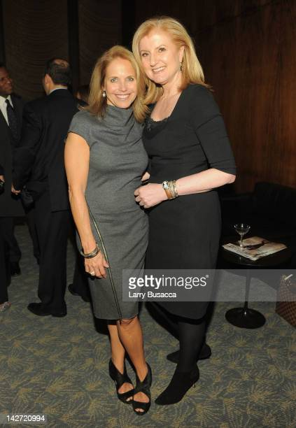 Journalist Katie Couric and Arianna Huffington president and editorinchief of the Huffington Post Media Group attend the Hollywood Reporter...