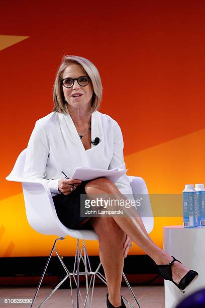 Journalist Katie Couric speaks onstage during the Elections 2016 The Wild Ride to the White House panel on the Times Center Stage during 2016...