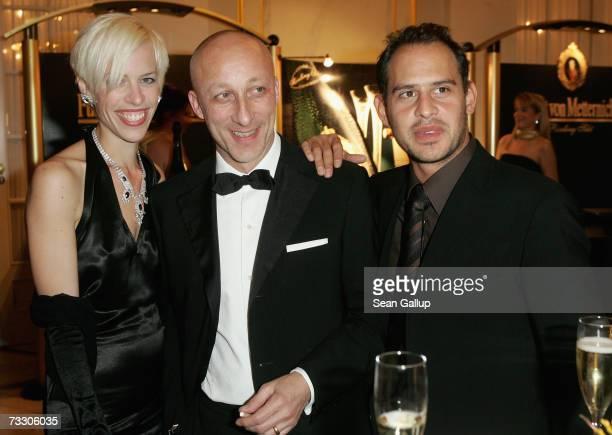 Journalist Katja Hofmann director Oliver Hirschbiegel and actor Moritz Bleibtreu attend the Cinema for Peace Charity Gala February 12 2007 in Berlin...