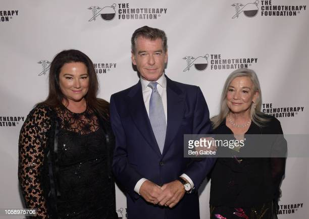 Journalist Keely Shaye Smith actor Pierce Brosnan and Sharon Rose Smith attend the 2018 Innovation Gala where Chemotherapy Foundation honors Actor...