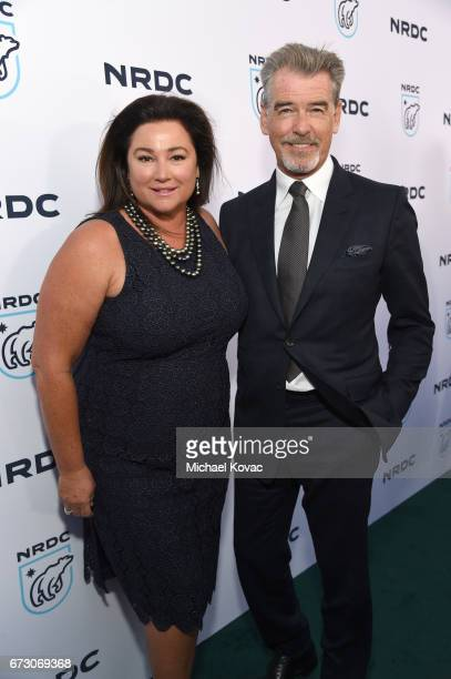 Journalist Keely Shaye Smith and actor Pierce Brosnan attend NRDC STAND UP for the planet 2017 on April 25 2017 in Beverly Hills California