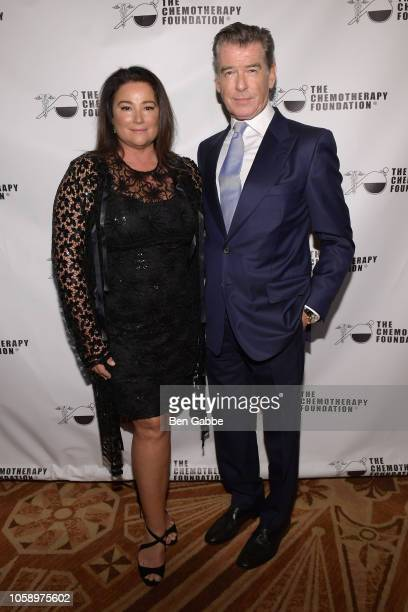 Journalist Keely Shaye Smith and actor Pierce Brosnan attend the 2018 Innovation Gala where Chemotherapy Foundation honors Actor Producer and...