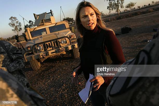 Journalist Lara Logan of CBS News questions US Soldiers in Camp Victory in Baghdad Iraq November 17 2006