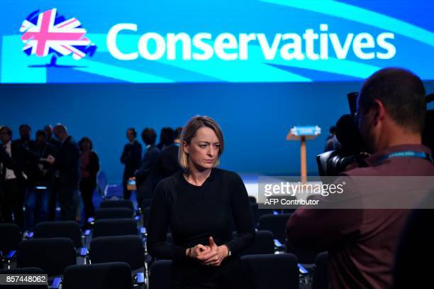 Journalist Laura Kuenssberg speaks to camera after Britain's Prime Minister Theresa May delivered her speech on the final day of the Conservative...