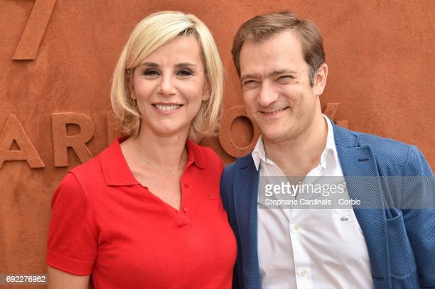 Journalist Laurence Ferrari and her companion Violonist Renaud Capucon attend the 2017 French Tennis Open Day Height at Roland Garros on June 4 2017...